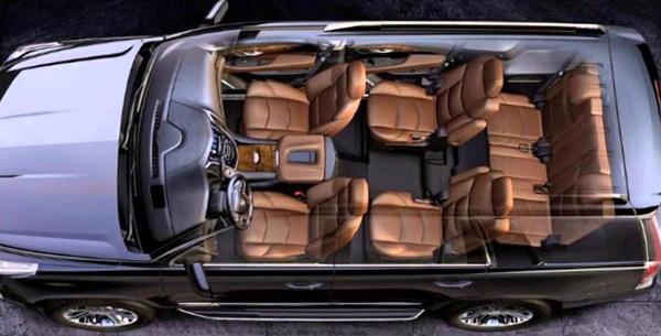Inside a Cadillac Escalade ESV