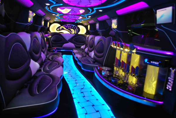 Inside a Escalade Stretch Limousine